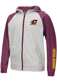 Central Michigan Chippewas Youth Colosseum Parabolic Full Zip Jacket - Grey