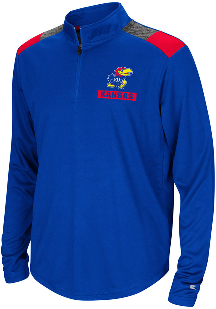 Colosseum Kansas Jayhawks Youth Blue 99 Yards Long Sleeve Quarter Zip Shirt - Image 1