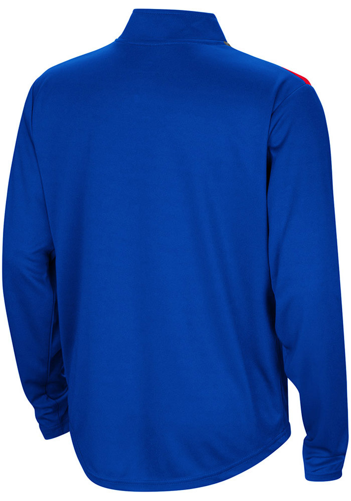 Colosseum Kansas Jayhawks Youth Blue 99 Yards Long Sleeve Quarter Zip Shirt - Image 2