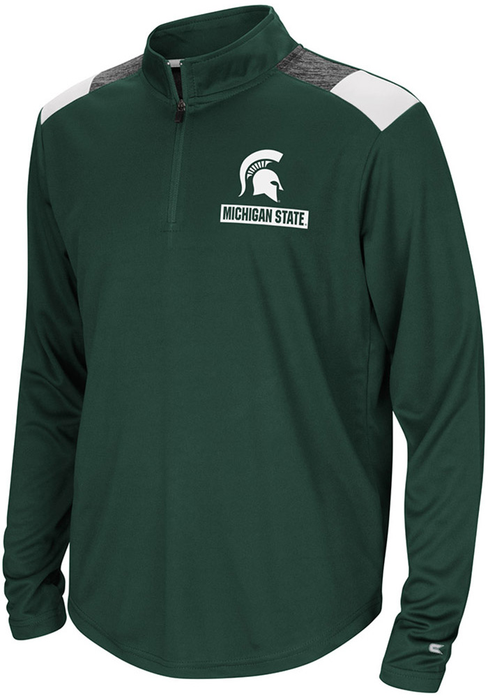 Colosseum Michigan State Spartans Youth Green 99 Yards Long Sleeve Quarter Zip Shirt - Image 1