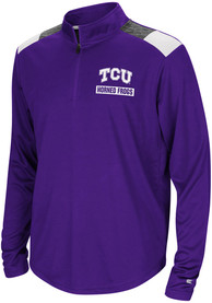 uk availability 347b0 d818d Colosseum TCU Horned Frogs Youth 99 Yards Purple Quarter Zip Shirt