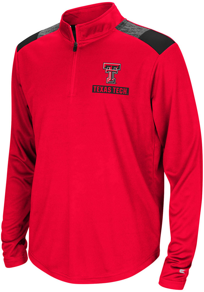 Colosseum Texas Tech Red Raiders Youth Red 99 Yards Long Sleeve Quarter Zip Shirt - Image 1