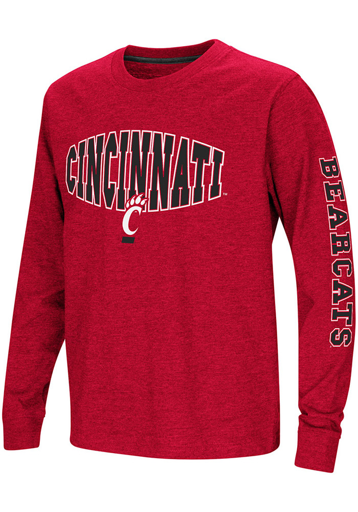 Colosseum Cincinnati Bearcats Youth Red Spike Long Sleeve T-Shirt - Image 1