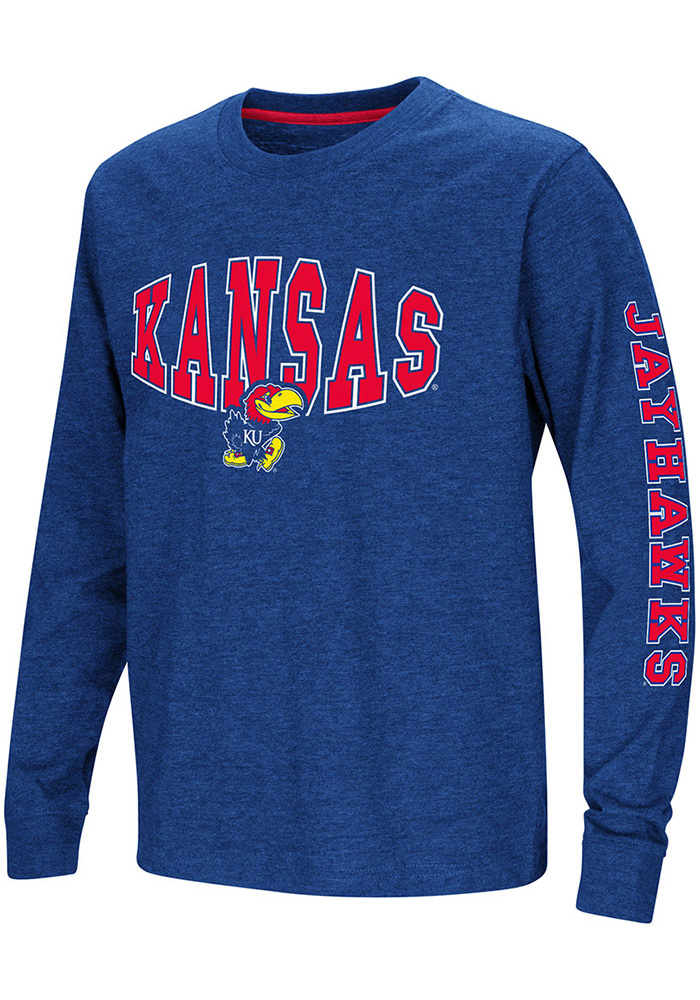 Colosseum Kansas Jayhawks Youth Blue Spike Long Sleeve T-Shirt - Image 1