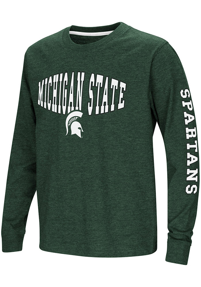 MICHIGAN STATE SPARTANS YOUTH GREEN SCREEN PRINT LONG SLEEVE T-SHIRT NEW