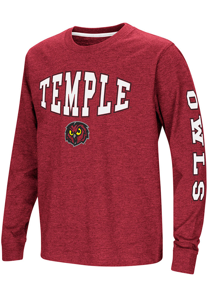 Colosseum Temple Owls Youth Red Spike Long Sleeve T-Shirt - Image 1