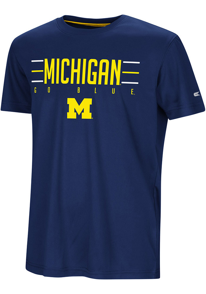 Colosseum Michigan Wolverines Youth Navy Blue Anytime Anywhere Short Sleeve T-Shirt - Image 1
