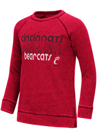 Cincinnati Bearcats Girls Colosseum Hot Hands Burnout Crew Sweatshirt - Red