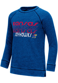 Kansas Jayhawks Girls Colosseum Hot Hands Burnout Crew Sweatshirt - Blue