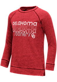 Oklahoma Sooners Girls Colosseum Hot Hands Burnout Crew Sweatshirt - Crimson