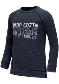 Penn State Nittany Lions Girls Colosseum Hot Hands Burnout Crew Sweatshirt - Navy Blue