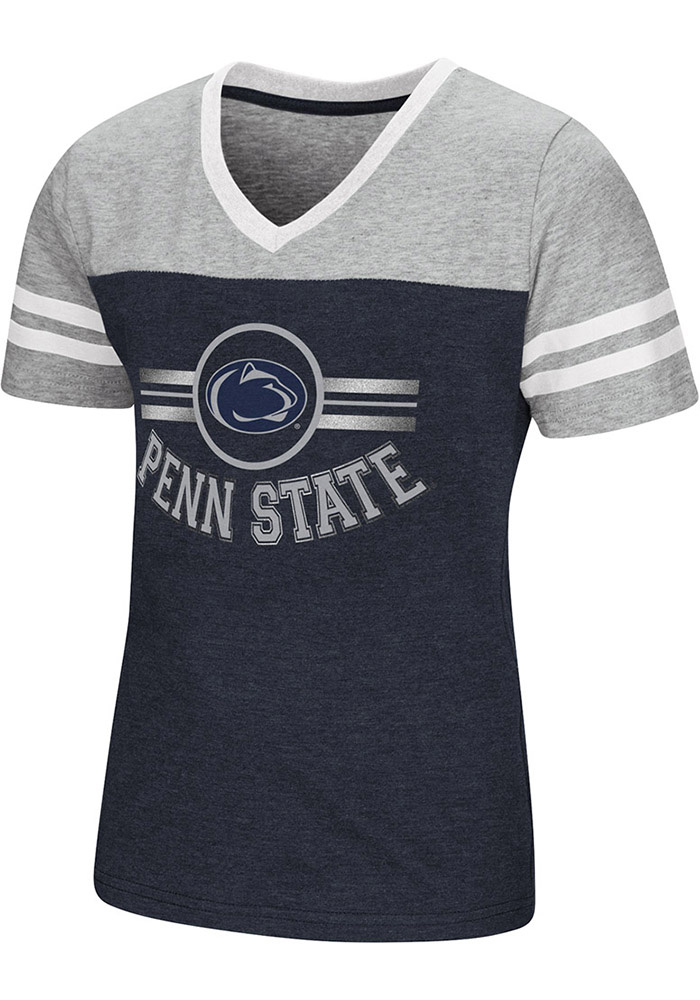 Colosseum Penn State Nittany Lions Girls Navy Blue Pee Wee Short Sleeve Fashion T-Shirt - Image 1