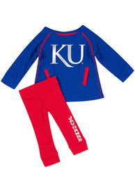 Kansas Jayhawks Infant Girls Colosseum Nice Kick Top and Bottom - Blue