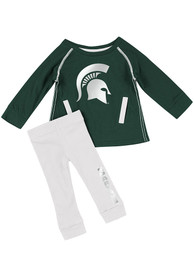 Michigan State Spartans Infant Girls Colosseum Nice Kick Top and Bottom - Green