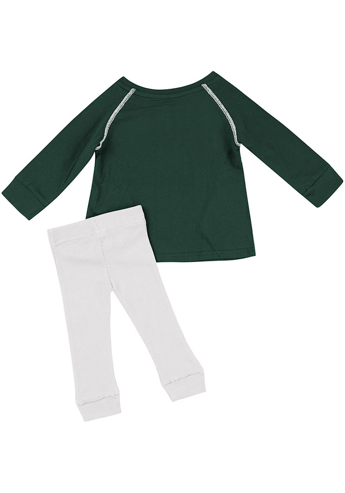 Colosseum Michigan State Spartans Infant Girls Green Nice Kick Set Top and Bottom - Image 2