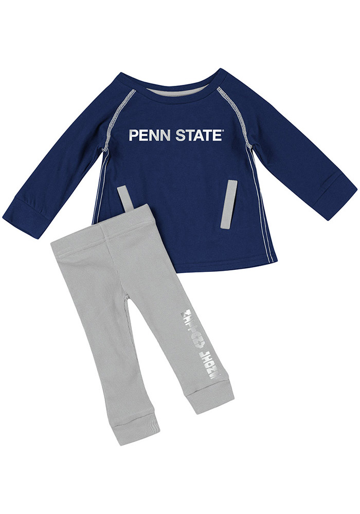 Colosseum Penn State Nittany Lions Infant Girls Navy Blue Nice Kick Set Top and Bottom - Image 1