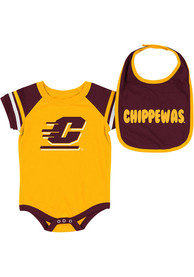Central Michigan Chippewas Baby Colosseum Roll-Out One Piece with Bib - Maroon