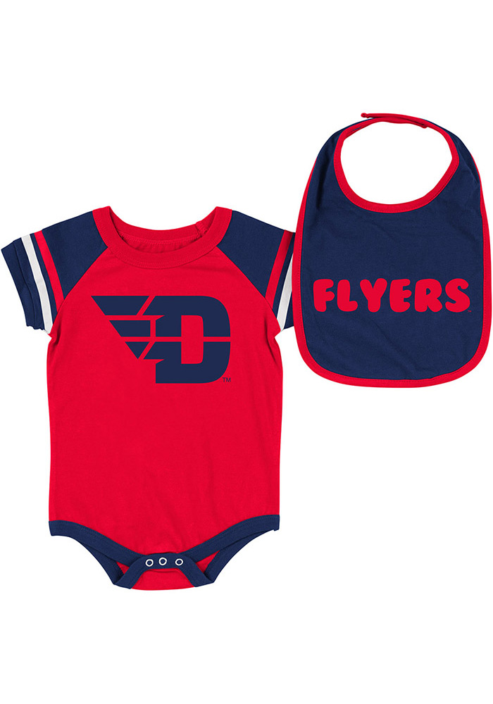 Colosseum Dayton Flyers Baby Red Roll-Out Set One Piece with Bib - Image 1