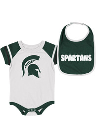 Michigan State Spartans Baby Colosseum Roll-Out One Piece with Bib - White