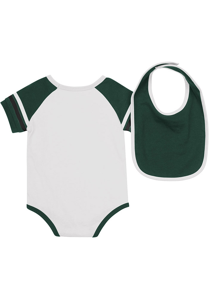 Colosseum Michigan State Spartans Baby White Roll-Out Set One Piece with Bib - Image 2