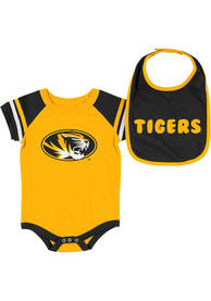 Missouri Tigers Baby Colosseum Roll-Out One Piece with Bib - Black