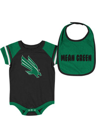North Texas Mean Green Baby Colosseum Roll-Out One Piece with Bib - Green