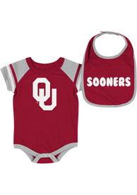 Oklahoma Sooners Baby Colosseum Roll-Out One Piece with Bib - Crimson