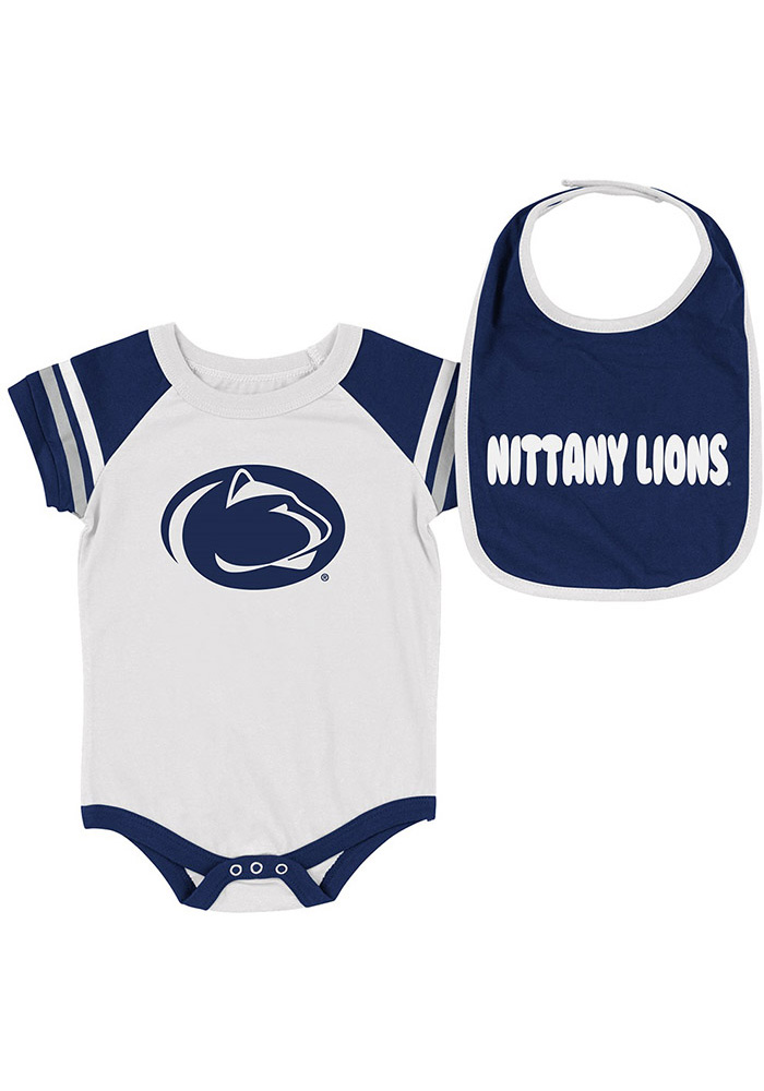 Colosseum Penn State Nittany Lions Baby Navy Blue Roll-Out Set One Piece with Bib - Image 1