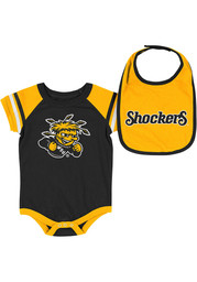 Colosseum Wichita State Shockers Baby Black Roll-Out Set One Piece with Bib