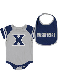 Xavier Musketeers Baby Colosseum Roll-Out One Piece with Bib - Navy Blue