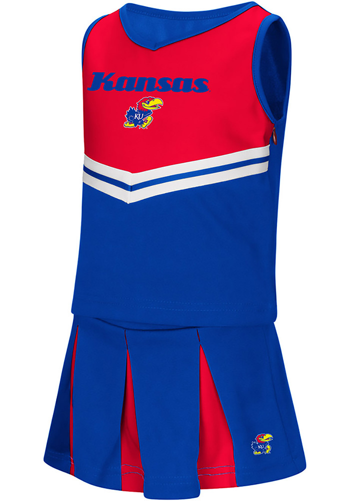 Colosseum Kansas Jayhawks Toddler Girls Blue Pom Pom Sets Cheer - Image 1