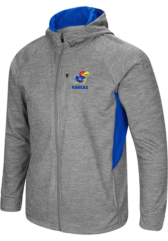 Colosseum Kansas Jayhawks Mens Grey All Them Teeth Long Sleeve Zip - Image 1