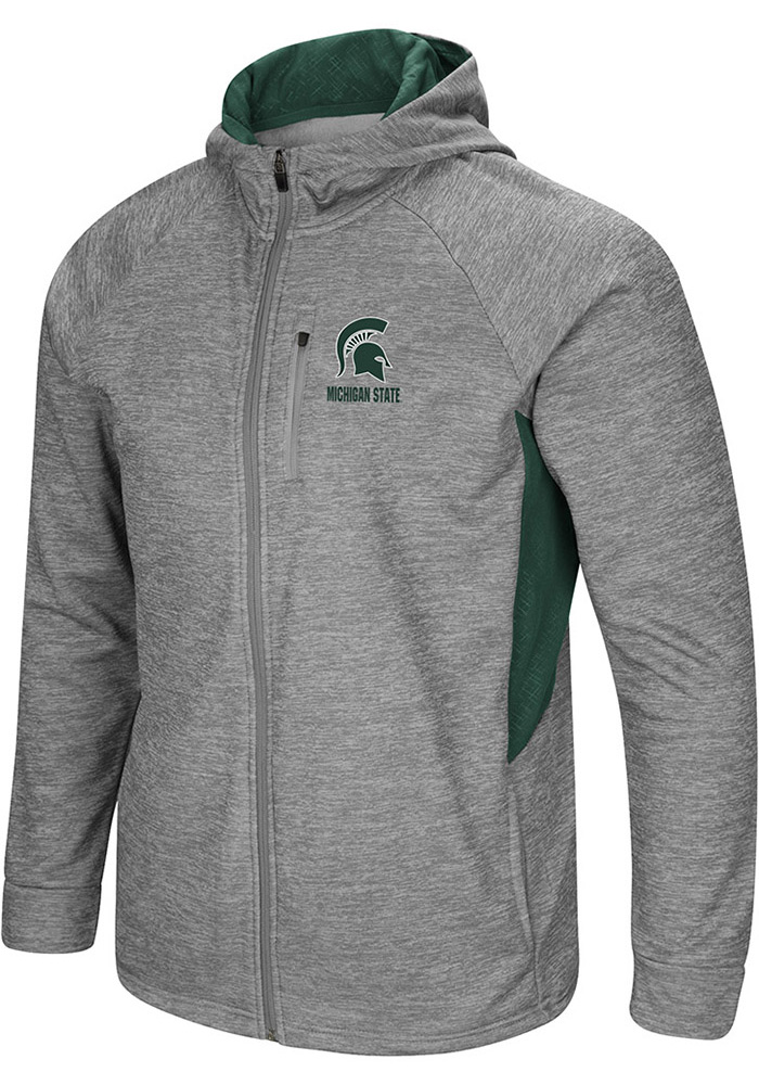 Colosseum Michigan State Spartans Mens Grey All Them Teeth Long Sleeve Zip - Image 1