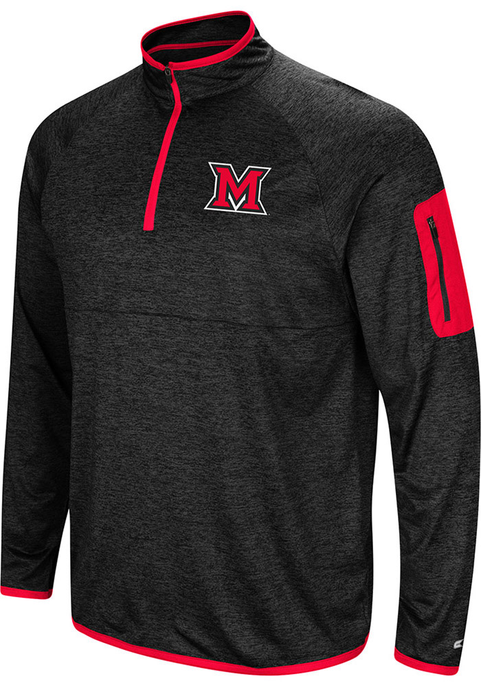 Colosseum Miami RedHawks Mens Charcoal Amnesia Long Sleeve 1/4 Zip Pullover - Image 1