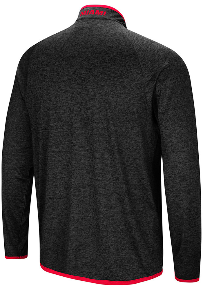 Colosseum Miami RedHawks Mens Charcoal Amnesia Long Sleeve 1/4 Zip Pullover - Image 2