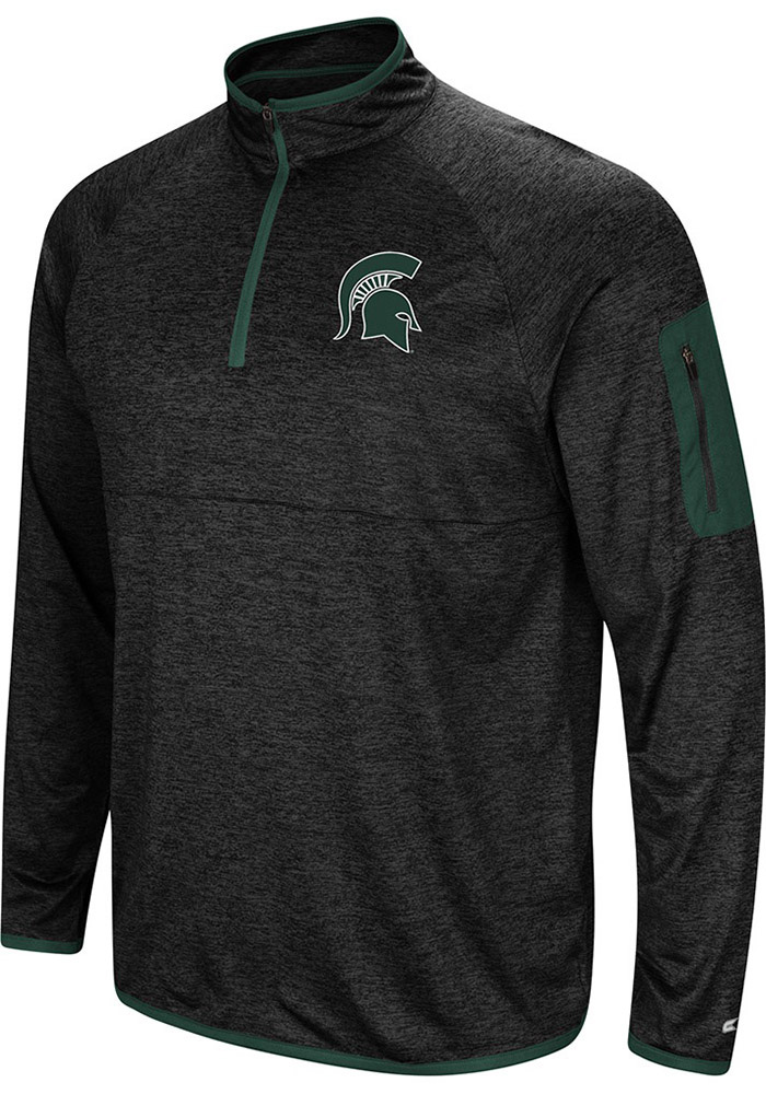 Colosseum Michigan State Spartans Mens Charcoal Amnesia Long Sleeve 1/4 Zip Pullover - Image 1