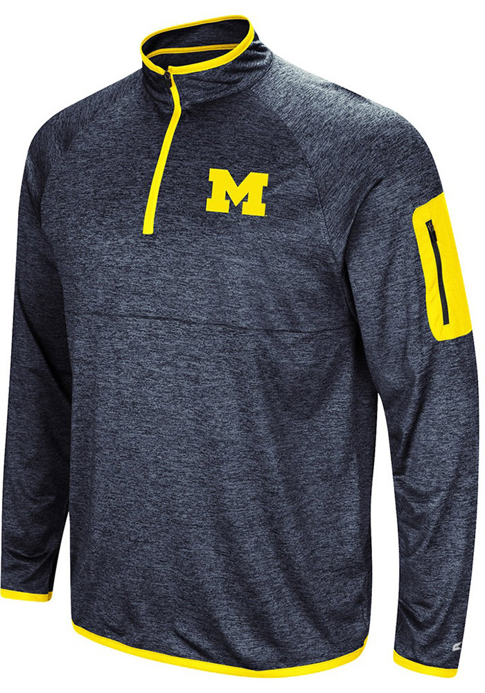 Colosseum Michigan Wolverines Mens Navy Blue Amnesia Long Sleeve 1/4 Zip Pullover - Image 1