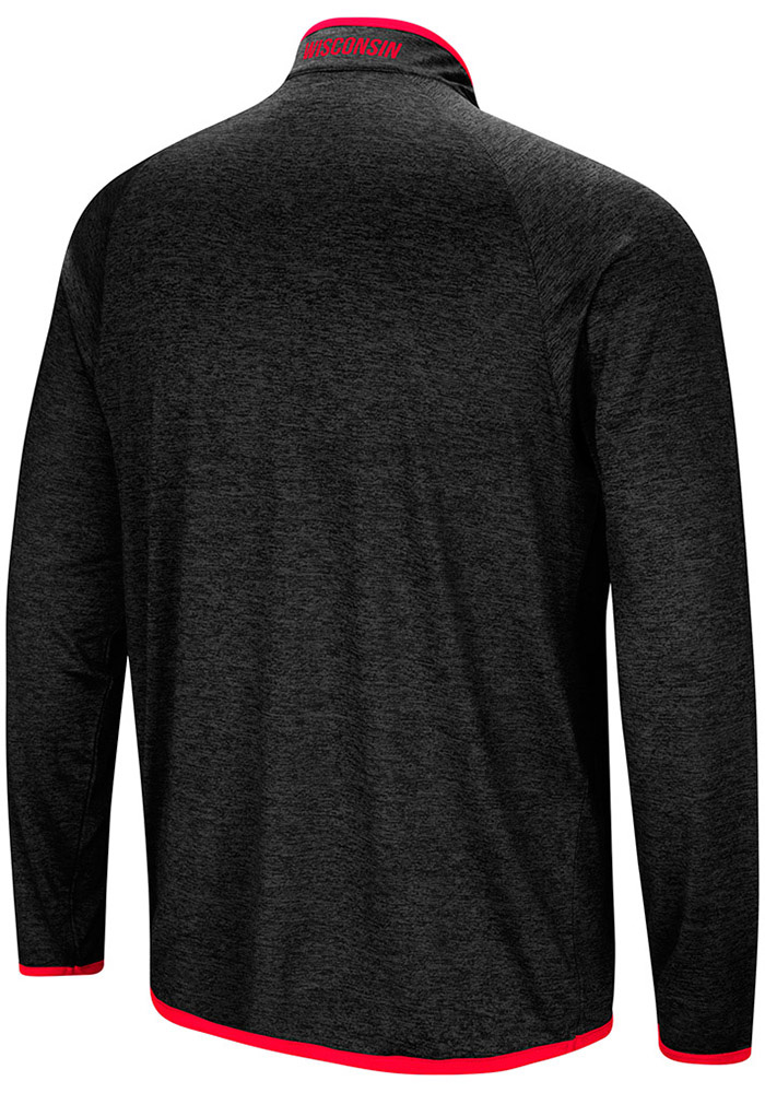 Colosseum Wisconsin Badgers Mens Charcoal Amnesia Long Sleeve 1/4 Zip Pullover - Image 2