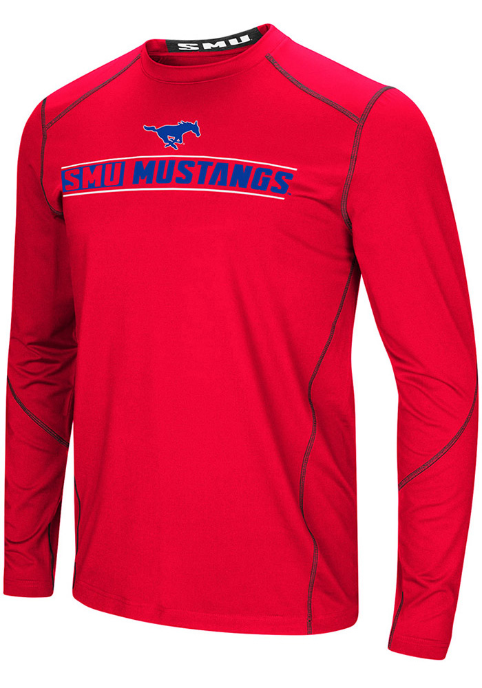 Colosseum SMU Mustangs Red Bayous Long Sleeve T-Shirt - Image 1