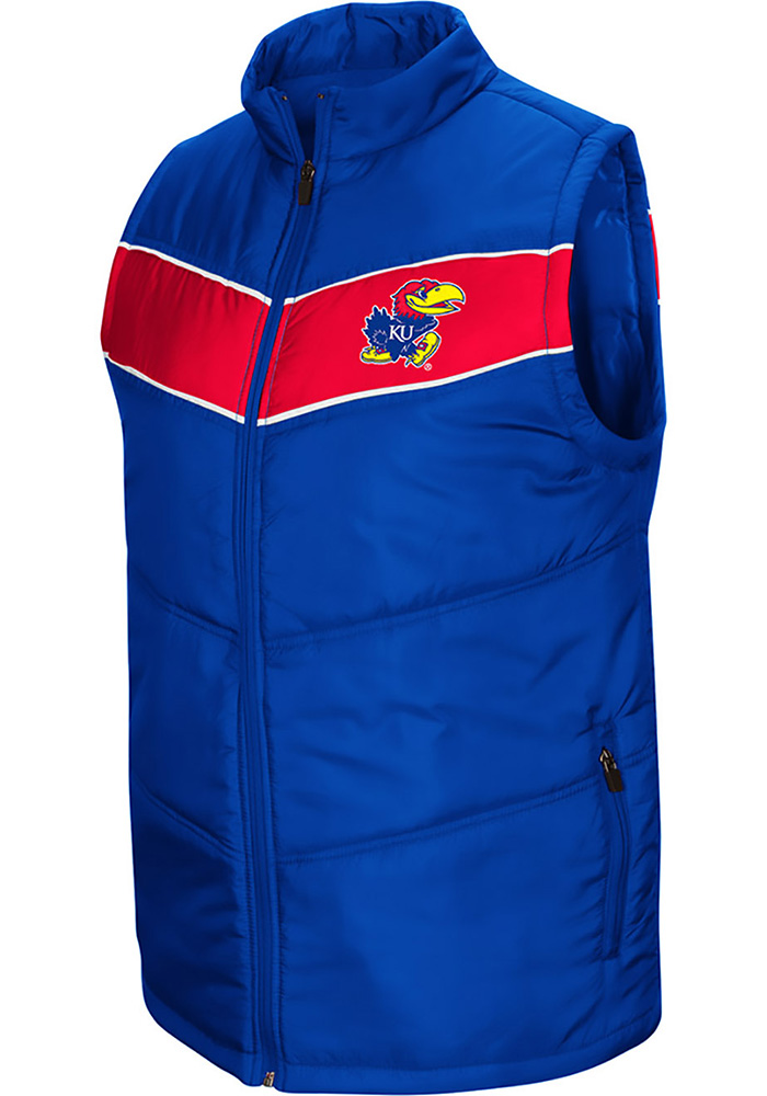 Colosseum Kansas Jayhawks Mens Blue Beaulieu Sleeveless Jacket - Image 1