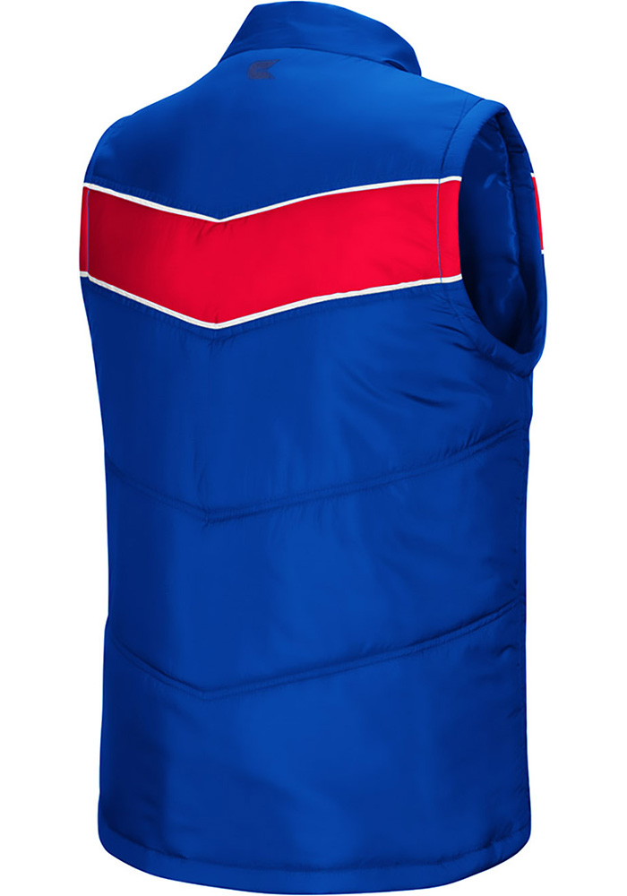 Colosseum Kansas Jayhawks Mens Blue Beaulieu Sleeveless Jacket - Image 2