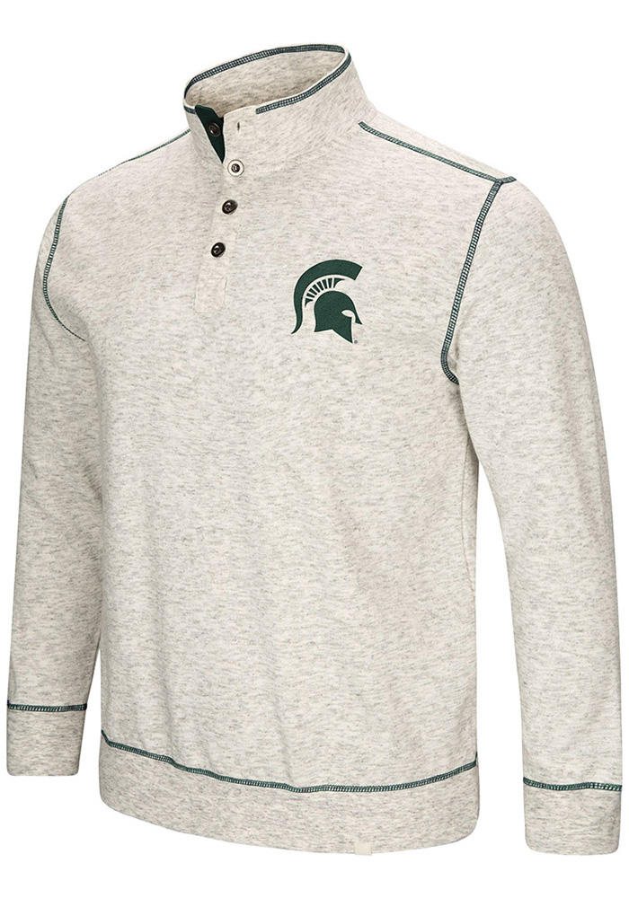 Colosseum Michigan State Spartans Mens Grey Bourbon Bowl Long Sleeve 1/4 Zip Pullover - Image 1