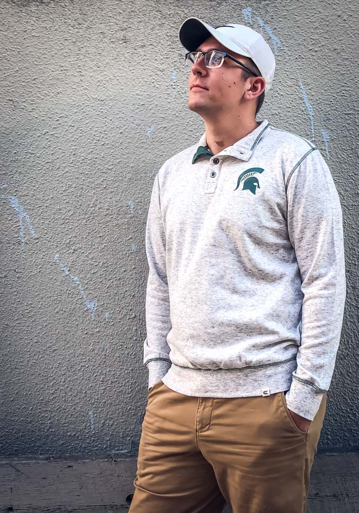 Colosseum Michigan State Spartans Mens Grey Bourbon Bowl Long Sleeve 1/4 Zip Pullover - Image 3