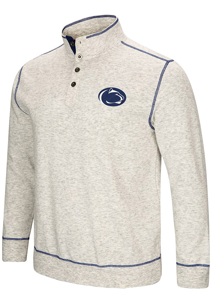 Colosseum Penn State Nittany Lions Mens Grey Bourbon Bowl Long Sleeve 1/4 Zip Pullover - Image 1