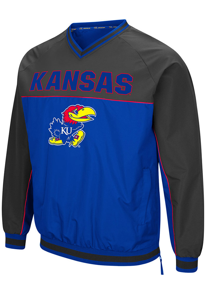 Colosseum Kansas Jayhawks Mens Blue Coach Klein Pullover Jackets - Image 1