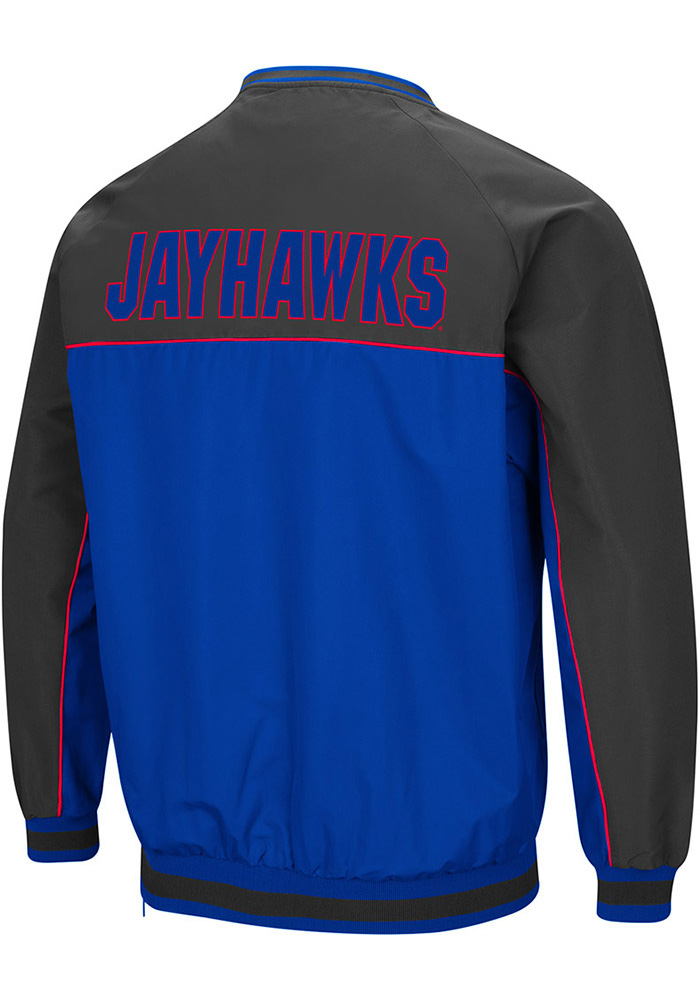 Colosseum Kansas Jayhawks Mens Blue Coach Klein Pullover Jackets - Image 2