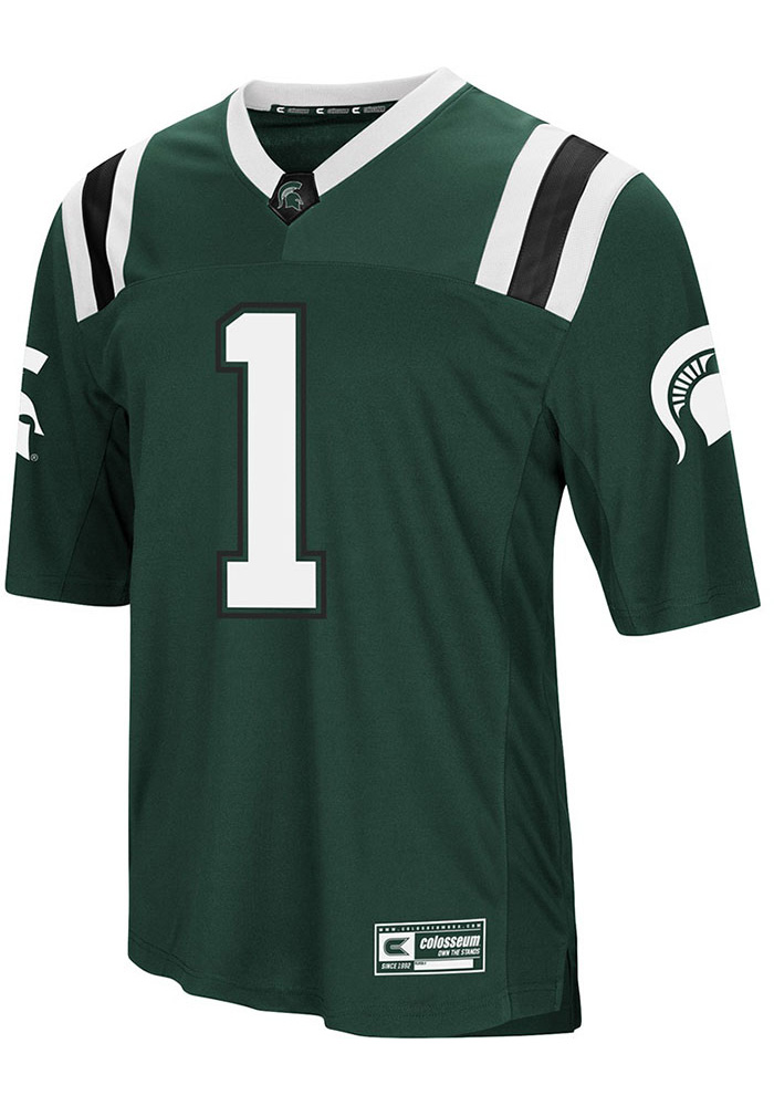 Colosseum Michigan State Spartans Mens Green Foos-Ball Football Jersey - Image 1