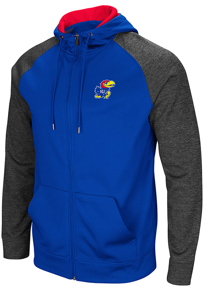 Colosseum Kansas Jayhawks Mens Blue Magic Rays Long Sleeve Zip - Image 1