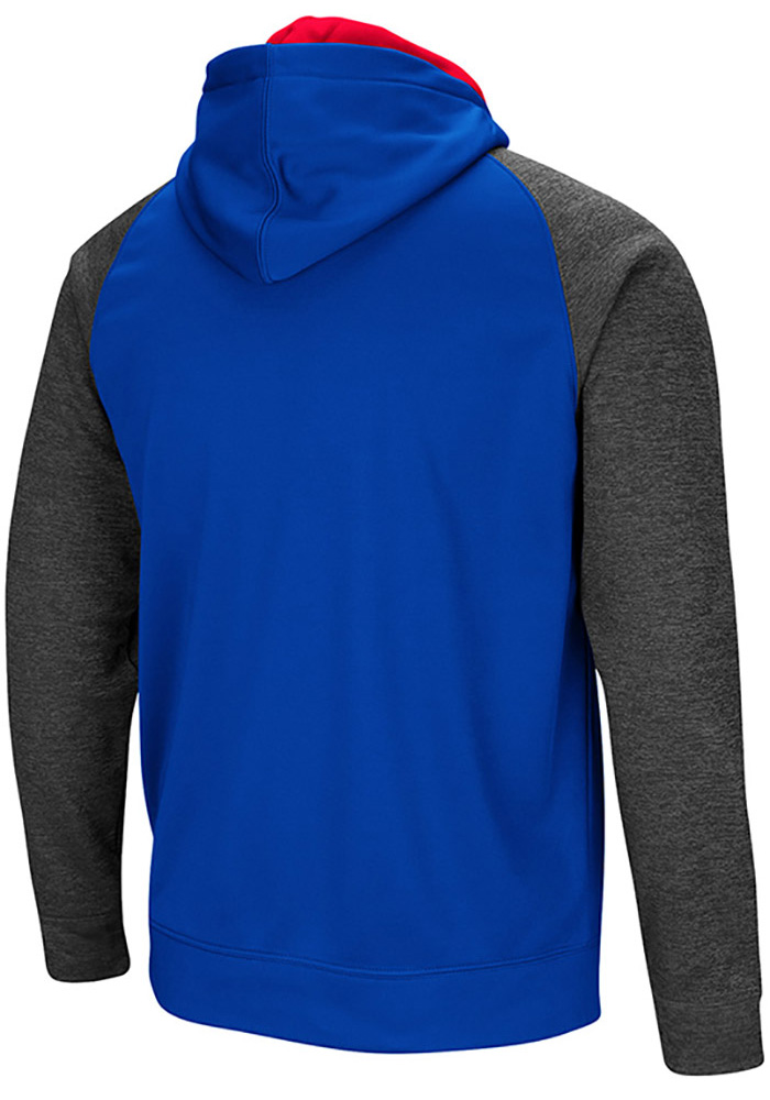 Colosseum Kansas Jayhawks Mens Blue Magic Rays Long Sleeve Zip - Image 2