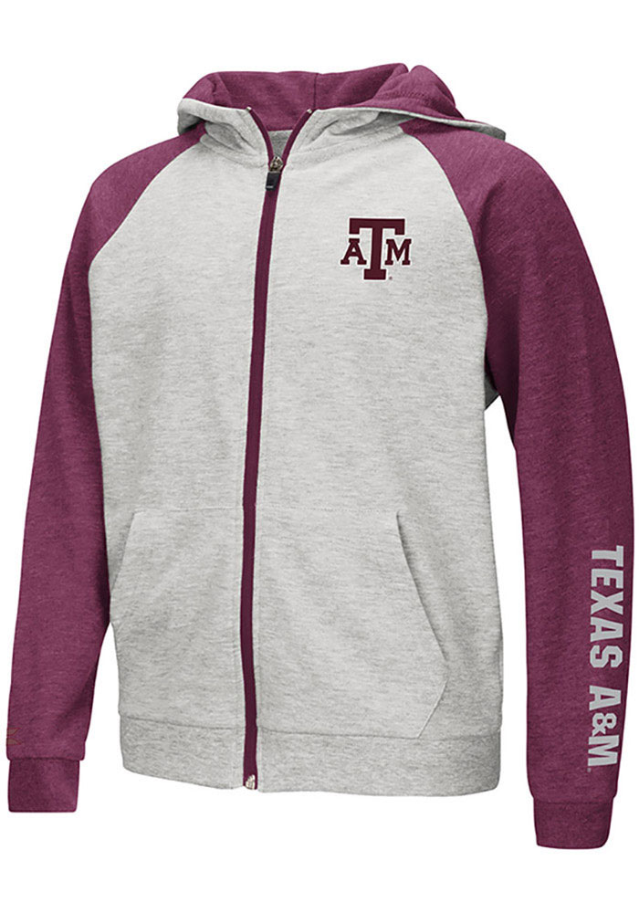 Colosseum Texas A&M Aggies Youth Grey Parabolic Long Sleeve Full Zip Jacket - Image 1